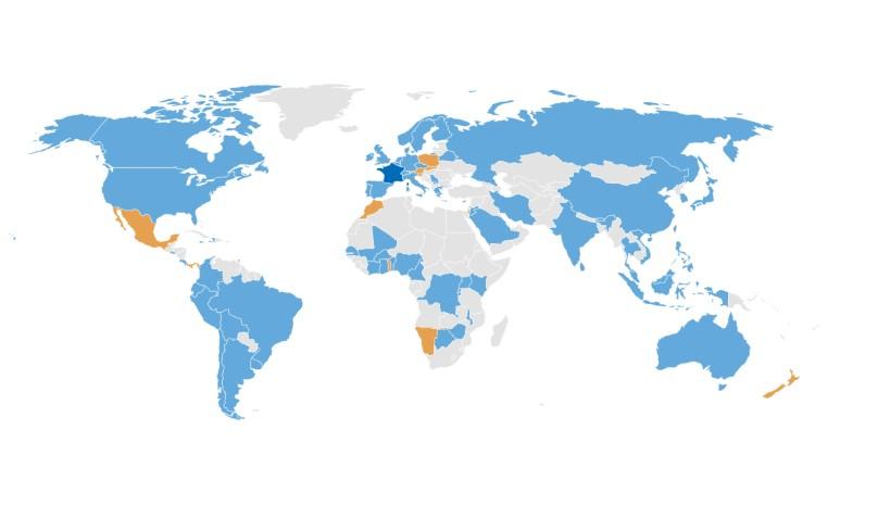 Participación de los diferentes Estados a nivel mundial en el comité técnico de EC. Fuente: ISO/TC 323 PARTICIPATION